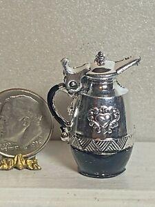 Vintage Heart Crest Hinged Carafe Dollhouse 1:12 Miniature Metal Lidded