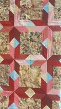 Handmade QUILT Floral Parallelogram Patchwork SINGLE Red Blue Pink Flowers NEW