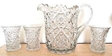 Antique Heavy Pressed Glass Pitcher with 3 Glasses