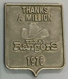 "RARE 1976 TEXAS RANGERS MLB Baseball ""THANKS A MILLION"" Pewter PIN"