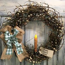 18 Inch Primitive Country Grapevine Wreath With Candle