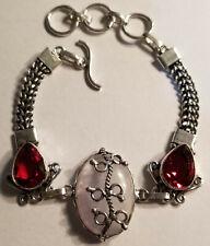 Rainbow Moonstone,Garnet Bracelet in 925 Silver Bracelet, NWOT,Moonstone,Garnet