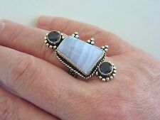 925 Silver Ring With Natural Lace & Agate Iolite UK P US 7.50 (rg2738)