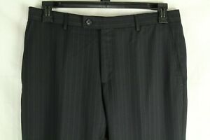 Moschino Men's Dress Pants Pinstripe Black Wool Size 50 (US 34) Made In Italy
