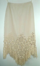 Valentino Boutique beige skirt w/ floral crochet design and tassels - Size US 6