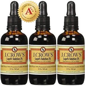 J.CROW'S® Lugol's Solution of Iodine 2% 2 oz Three Pack (3 bottles)