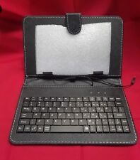 Universal 7 inch Tablet Case with PC Keyboard and Flip Stand, Black