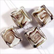 Lot de 4 perles en verres Lampwork Murano Rectangles 14x16 mm Blanc