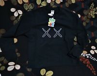 SESAME STREET KAWS X UNIQLO BLACK Graphic Sweatshirt M=S(US)Genuine Not Hoodie