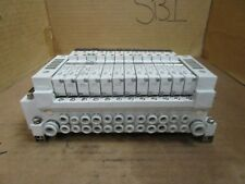 SMC 12-Slot Solenoid Valve Bank w. (10) VQ1101-5 & VQ1201-5 & VQ1201-5B Used