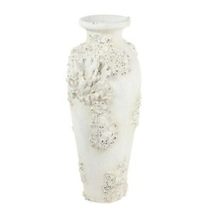 Zimlay Textural Tall White Large Floor Vase With Coral Nautical Decor 72681