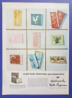 1956 Hallmark Decorated Note Papers Christmas Stationary Vintage Print Ad