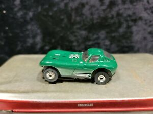 AURORA T JET HO SLOT CAR, GREEN CHEETAH BODY AND CHASSIS, #1403, GOOD CONDITION