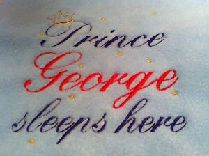 PERSONALISED EMBROIDERED FLEECE BABY BLANKET PRINCE/PRINCESS,BOY/GIRL,10 COLOURS