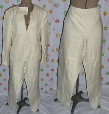 ECCOCI Womens`s 10 - 2 pc PANT SUIT EGGSHELL Silk PANTS w JACKET  NWT $500+ Cute