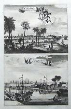 JAKARTA, JAVA, JAWA, CHURCHILL'S VOYAGES,Pair of original  antique prints 1744.
