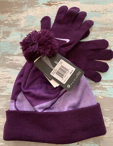 Nike Girls 2 Piece Hat and Glove Set Bold Berry Purple Size 7/16 New Swoosh