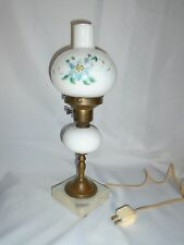 "Antique hand painted milk glass, brass and marble base  hurricane lamp 14"" tall"