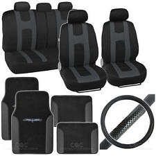 Complete Interior Set Seat Cover, Mat & Steering Wheel Cover - Black / Charcoal
