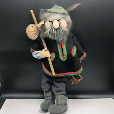 ANTIQUE GERMAN DOLL hobo mountain man basket bindle stick wool feather hat 1930