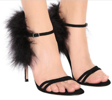 Womens Rhinestone Party Sexy Fashion Faux Fur Evening Party High Heel Shoes