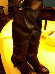 Stuart Weitzman Buckley black leather 9 M OTK boots pull on 3½ high heel