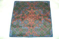 "New Macclesfield 100% silk pocket square 17"" hand rolled navy red Paisley"
