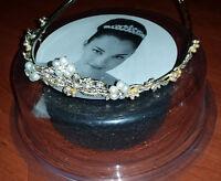 Beautiful David's Bridal $179 Tiara Pearls Rhinestones & Crystal Headpiece
