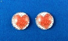 Red/white love heart flat back cabochon 12mm