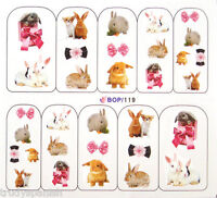 Nail Art Water Decals Stickers Decoration Easter Bunny Rabbit Bunnies Bows