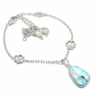 "Republic Larimar Gemstone Handmade 925 Sterling Silver Jewelry Necklace 18"" u959"