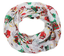 New David & Young Women's Holiday Christmas Owl Infinity Loop Scarf, White