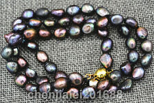 Rare! 8-9MM black Akoya freshwater Cultured Pearl Baroque Necklace 18""