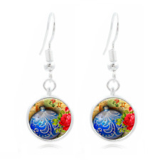 Christmas Ball Tibet Silver Dome Photo 16MM Glass Cabochon Long Earrings #73