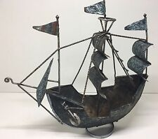 Vintage Metal Handmade Pirate Ship Nautical Theme Boat Yard Art Nice Patina