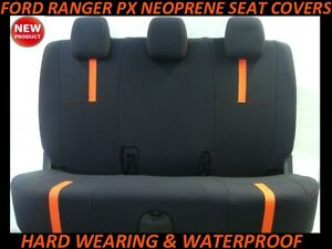 FITS FORD RANGER PX REAR  SPORTS  NEOPRENE SEAT COVERS ( WETSUIT MATERIAL )
