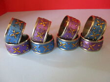 8 BLING NAPKIN RINGS, BLUE & PURPLE GLITTER with BEADS, ON SILVER CHROME RINGS
