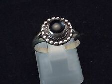 Sterling Silver - Braided Pebbled Round .5 Carat Black Onyx 2.8g - Ring 6.5