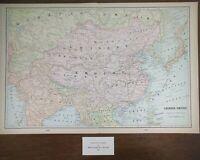 "Vintage 1902 CHINESE EMPIRE Map 14""x22"" ~Old Antique Original BEIJING PEKIN"