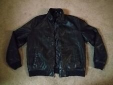 Tommy Hilfiger Heavy Leather Style Jacket Black Men's Size XL Quilted Lining!