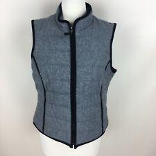 Boden Gray & Black Wool Puffer Vest Full Zip Size 10