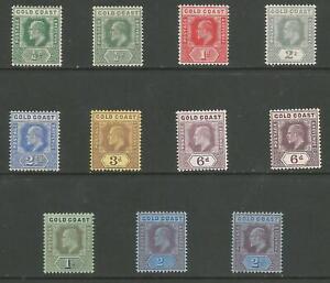 GOLD COAST 1907-13 EVII SET TO 2/-(BOTH) MOSTLY MNH CAT £192+
