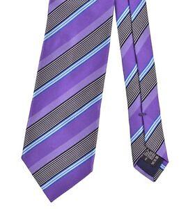 RECENT Ermenegildo Zegna Satin Royal Purple Woven Multi Stripe Cotton Silk Tie