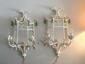 VTG HOLLYWOOD REGENCY ITALIAN WHITE FAUX BAMBOO PAGODA SCONCE WALL LAMP PAIR