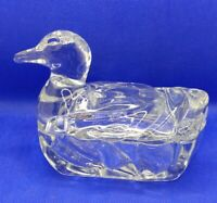 "Vintage Clear Glass Swimming Duck Trinket Box 4.25"" x 5.75"" x 3.25"" multipurpose"