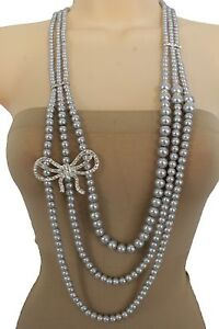 Women Fashion Long Strands Necklace Silver Blue Pearl Beads Ribbon Bow Tie Charm