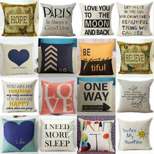 Throw Case Pillow Sofa Cushion Waist  Cover Cotton Linen Square Home Decorative
