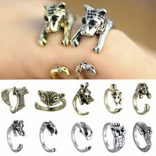 Women Retro Animal Pet Ancient Silver/Bronze Crystal Adjustable Ring Open Wrap