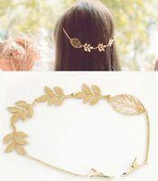 Women Girl Retro Boho Party gold color leaf Wedding Hair piece Head pin Clip