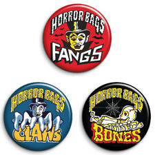 Set of 3 HORROR BAGS, RETRO SEVENTIES SNACKS 25mm Badges. FREE POST
